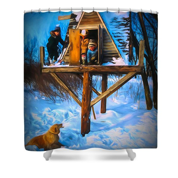 Winter Scene Three Kids And Dog Playing In A Treehouse Shower Curtain
