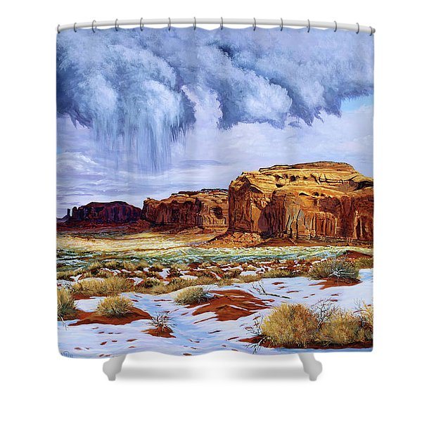 Winter Storm In Mystery Valley Shower Curtain