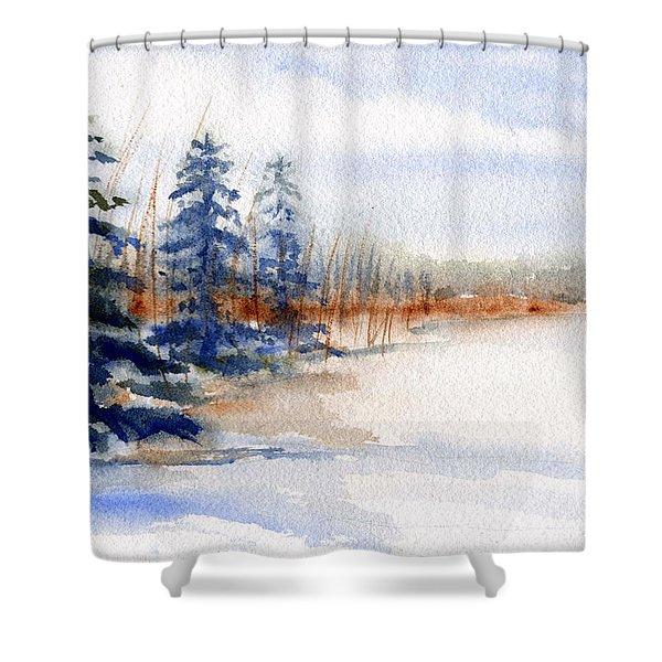 Winter Storm Watercolor Landscape Shower Curtain