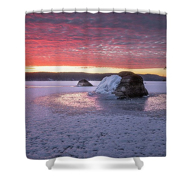Winter Sunrise Over Moose Pond Shower Curtain