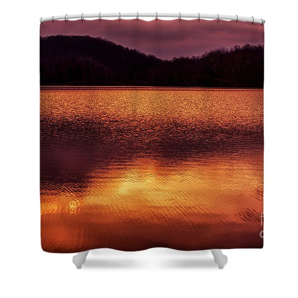 Winter Sunset Afterglow Reflection Shower Curtain