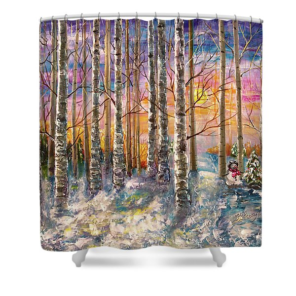 Dylan's Snowman - Winter Sunset Landscape Impressionistic Painting With Palette Knife Shower Curtain