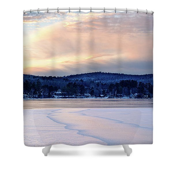 Winter Sunset On Wilson Lake In Wilton Me  -78091-78092 Shower Curtain