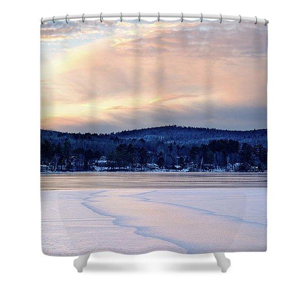 Winter Sunset On Wilson Lake In Wilton Me  -78091-78092 Shower Curtain