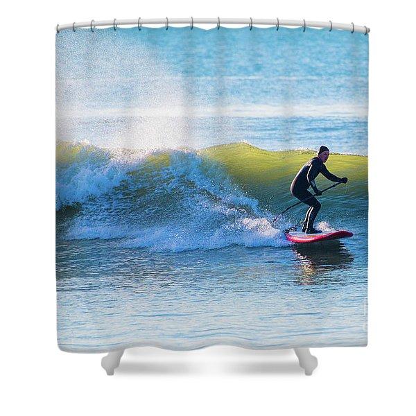 Winter Surfing In Aberystwyth Shower Curtain