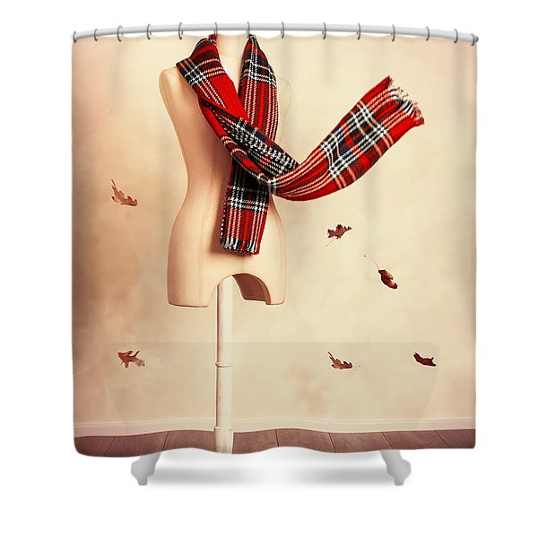 Winter Tartan Scarf With Fall Leaves Shower Curtain