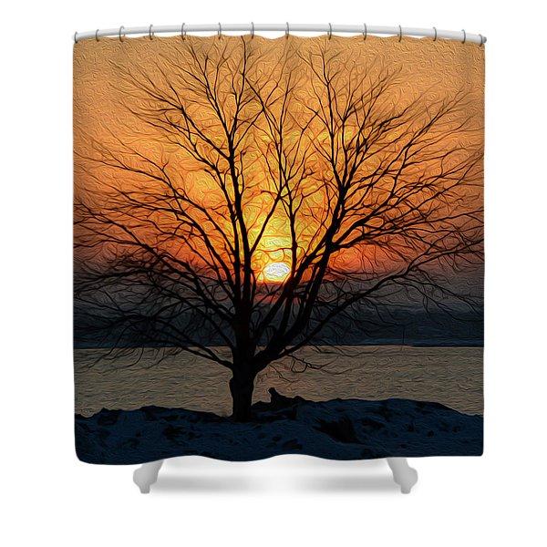 Winter Tree Sunrise Shower Curtain