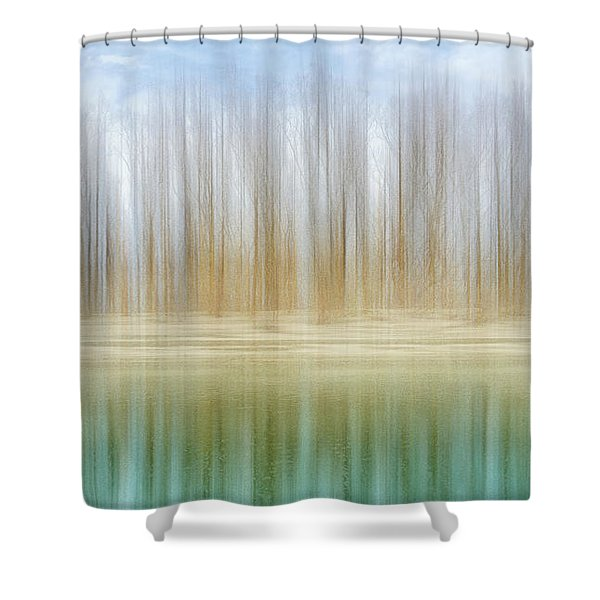 Winter Trees On A River Bank Reflecting Into Water Shower Curtain