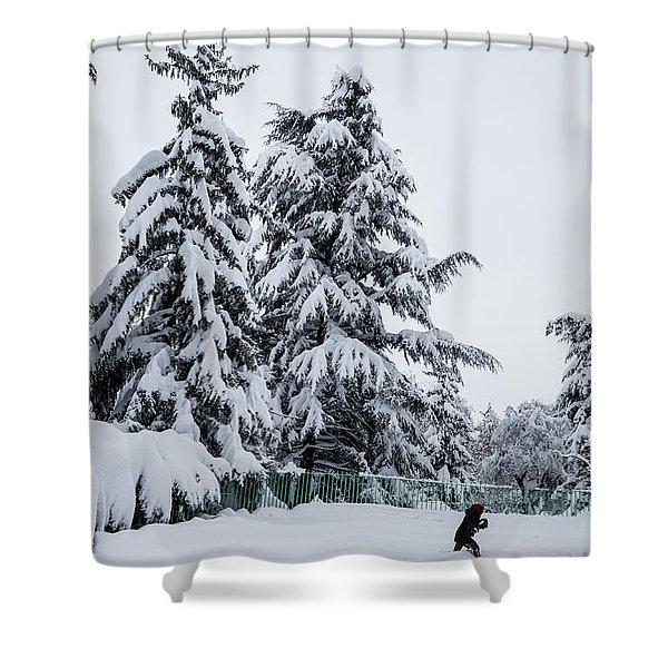 Winter Trekking-2 Shower Curtain