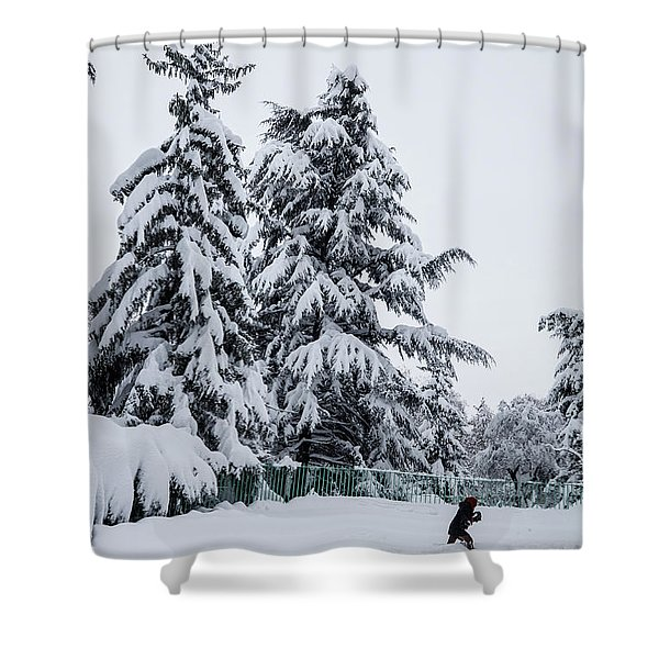 Winter Trekking-2 Shower Curtain