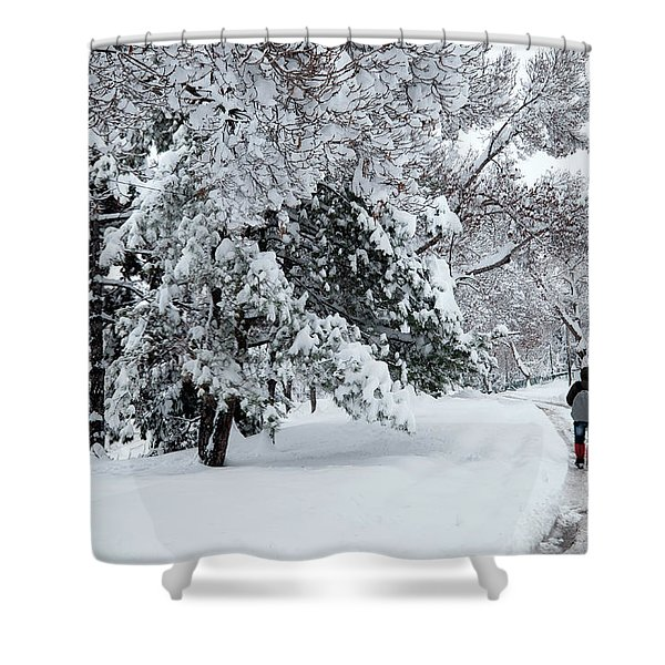 Winter Trekking-3 Shower Curtain