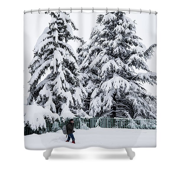 Winter Trekking Shower Curtain