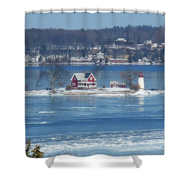 Winter View Of Crossover Island Shower Curtain