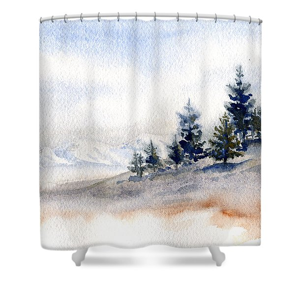 Winter Watercolor Painting Shower Curtain