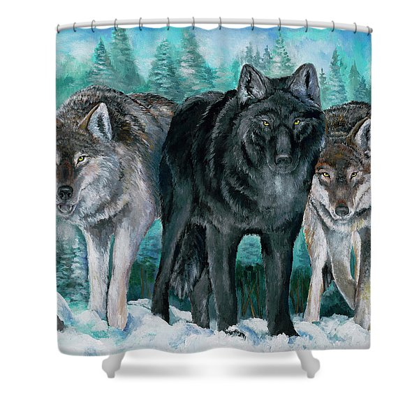 Winter Wolves Shower Curtain