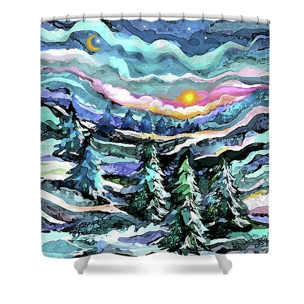 Winter Woods At Dusk Shower Curtain