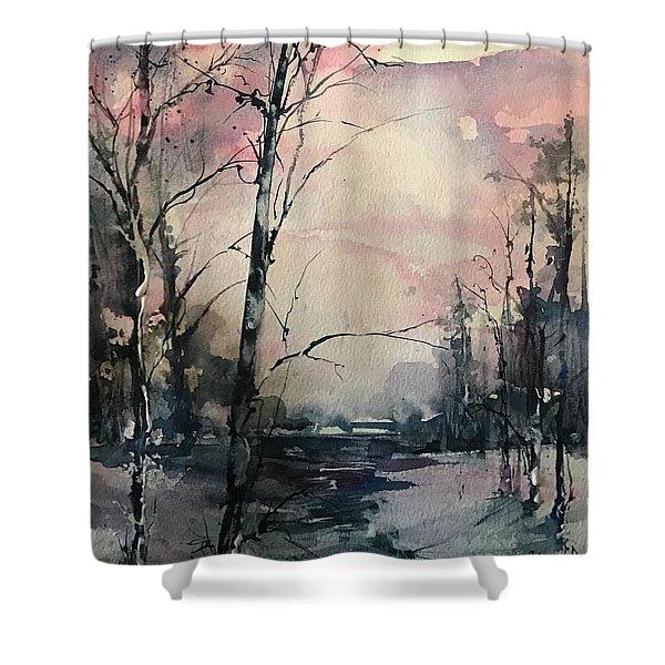 Winter's Blush Shower Curtain