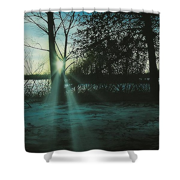 Winter's Evening Scout Shower Curtain