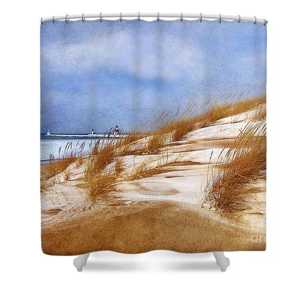 Wintertime St. Joe Lighthouse  Shower Curtain