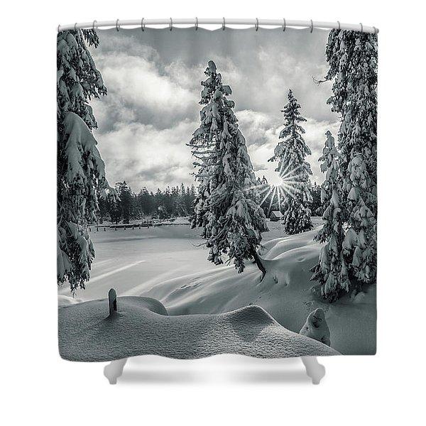 Winter Wonderland Harz In Monochrome Shower Curtain