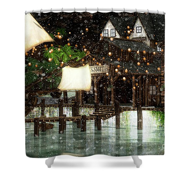 Wintery Inn Shower Curtain