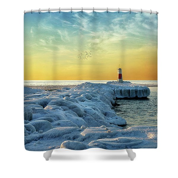 Wintry River Channel Shower Curtain