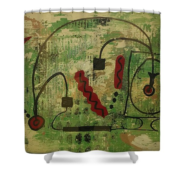 Wired Composition Enigma Shower Curtain