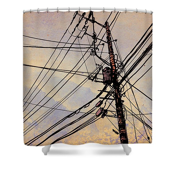 Wires Up Shower Curtain