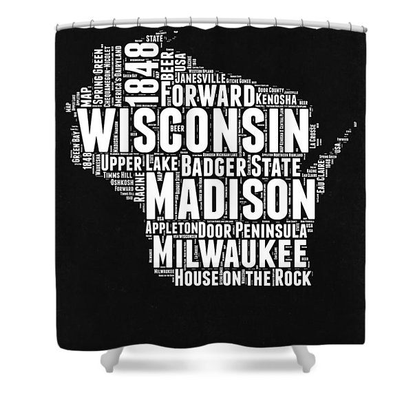 Wisconsin Black And White Word Cloud Map Shower Curtain