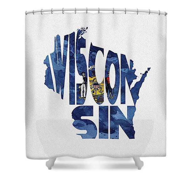 Wisconsin Typographic Map Flag Shower Curtain