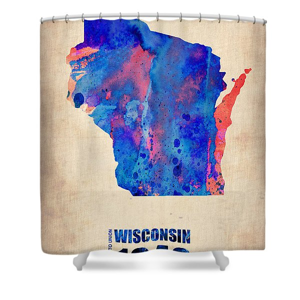 Wisconsin Watercolor Map Shower Curtain