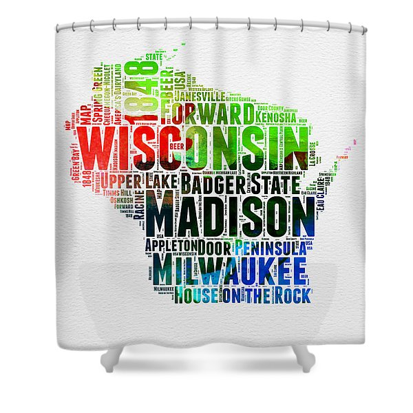Wisconsin Watercolor Word Cloud Map  Shower Curtain