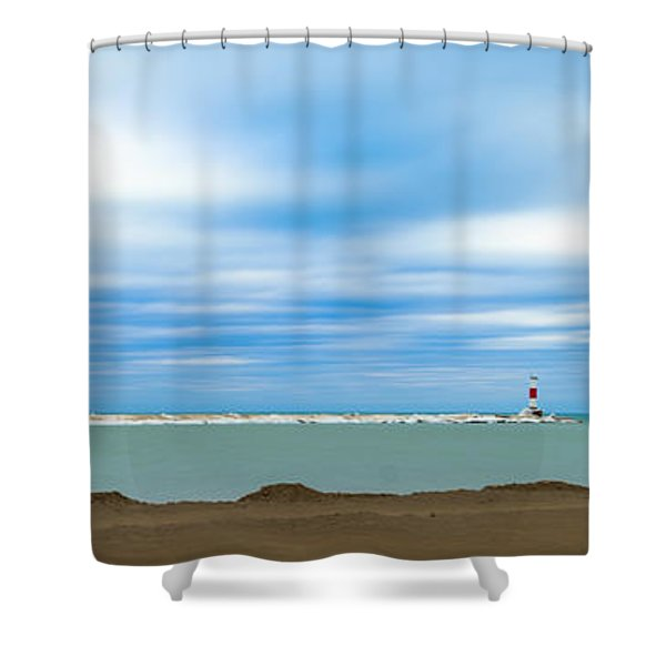 Wisconsin Winter Lakefront Shower Curtain