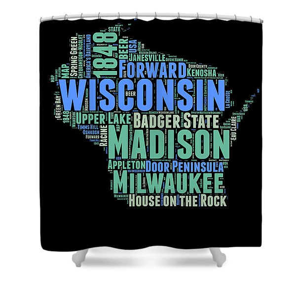 Wisconsin Word Cloud Map 1 Shower Curtain