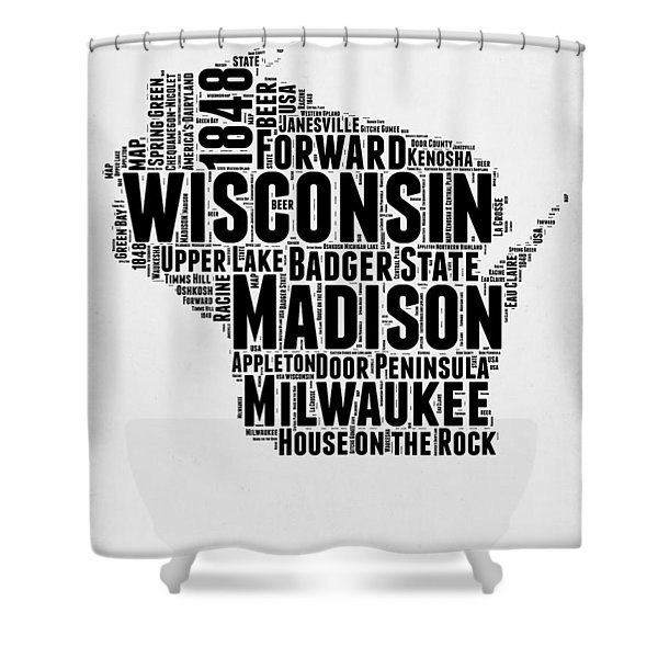 Wisconsin Word Cloud Map 2 Shower Curtain