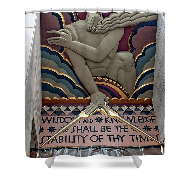Wisdom Lords Over Rockefeller Center Shower Curtain