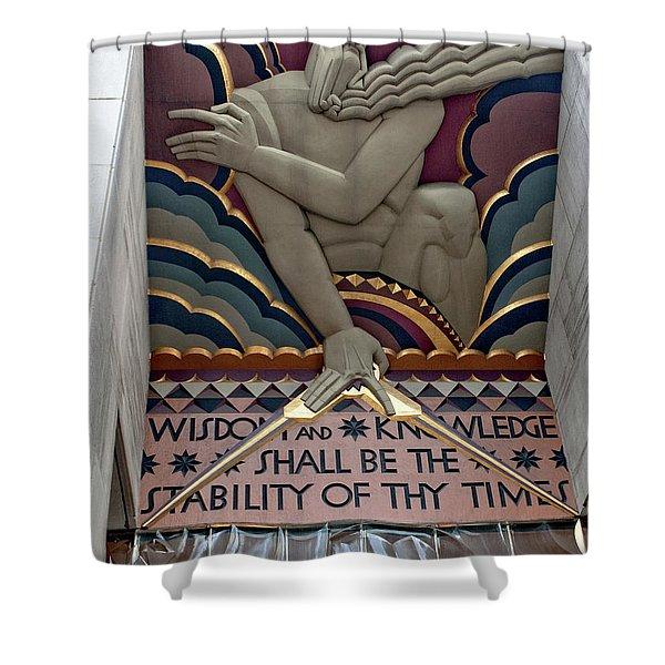 Shower Curtain featuring the photograph Wisdom Lords Over Rockefeller Center by Lorraine Devon Wilke