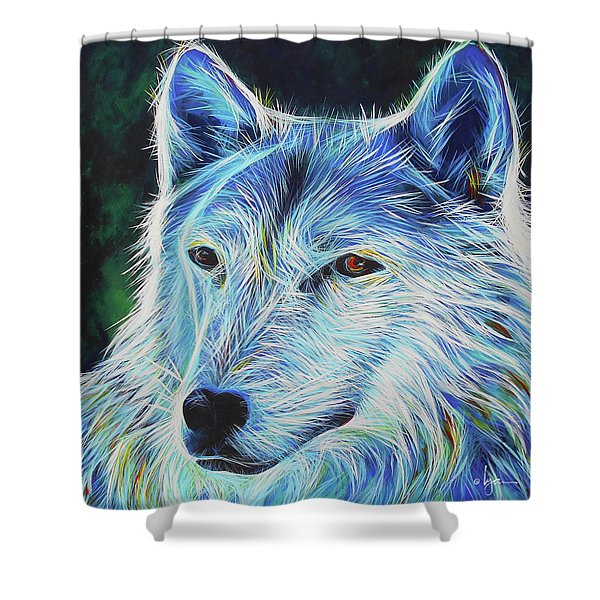 Wise White Wolf Shower Curtain