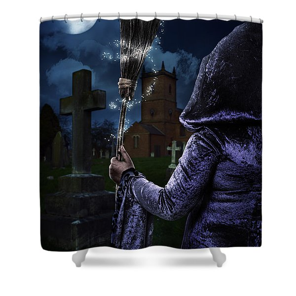 Witch And Her Broomstick Shower Curtain