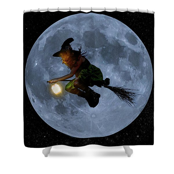 Witch Flying At Full Moon. Shower Curtain