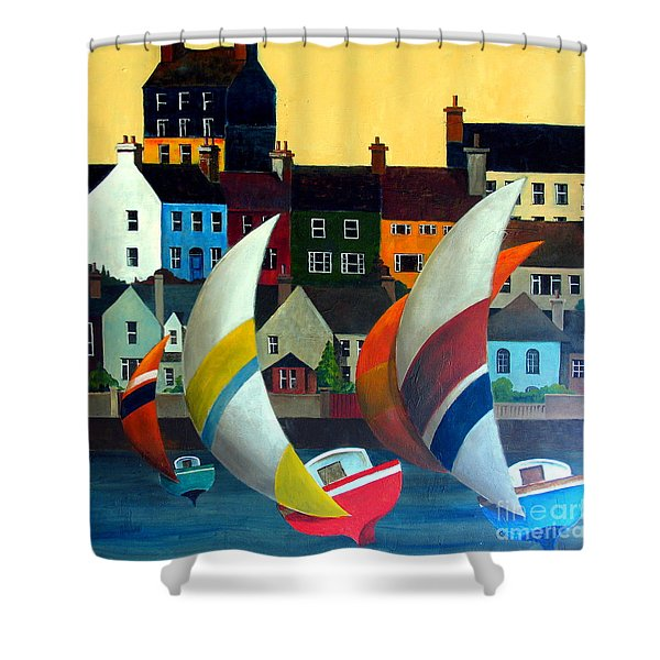 With The Wind In Kinsale, West Cork Shower Curtain