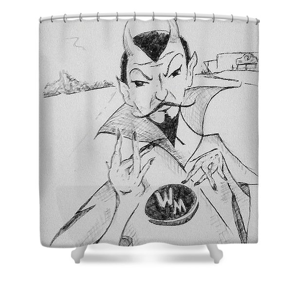 Wm Blue Devils Sign Shower Curtain
