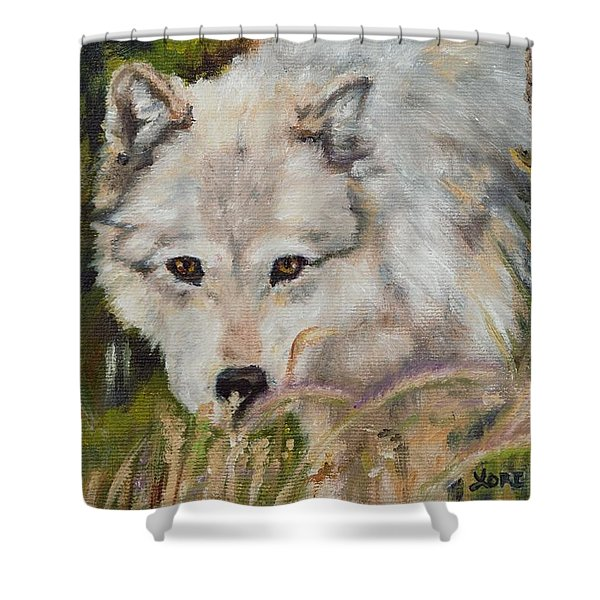 Wolf Among Foxtails Shower Curtain