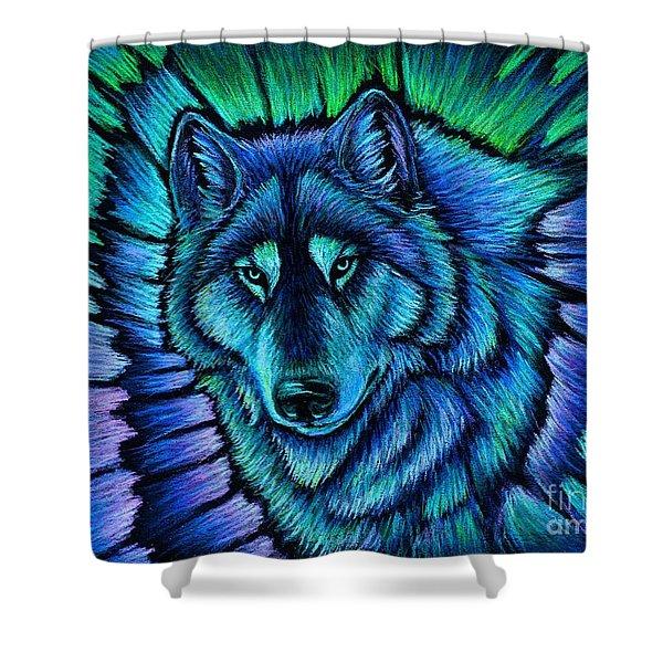 Wolf Aurora Shower Curtain