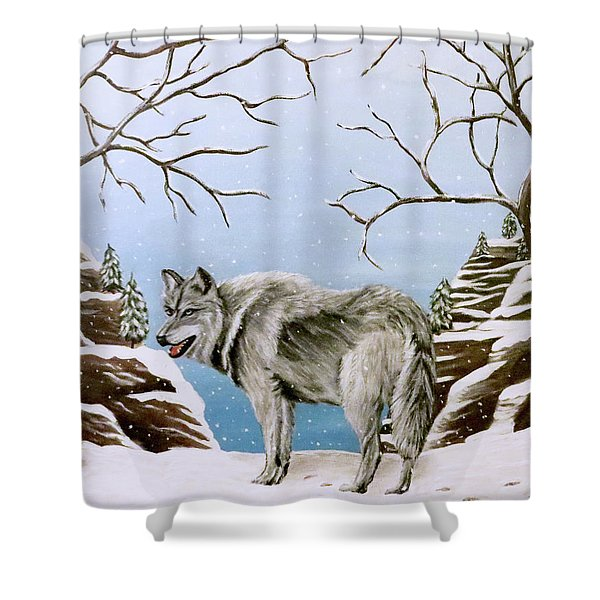 Wolf In Winter Shower Curtain