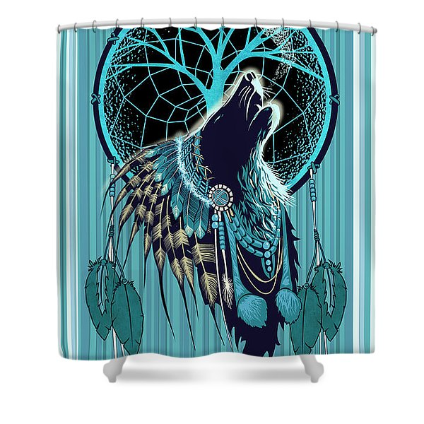 Shower Curtain featuring the painting Wolf Indian Shaman by Sassan Filsoof