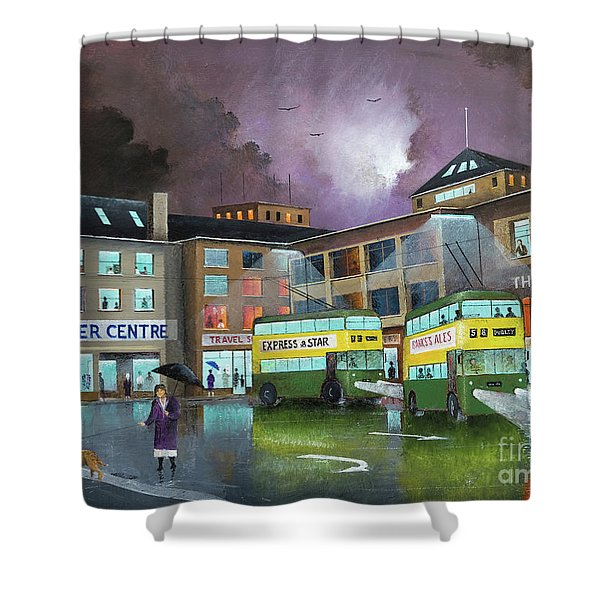 Shower Curtain featuring the painting Wolverhampton Trolley Bus Terminus by Ken Wood