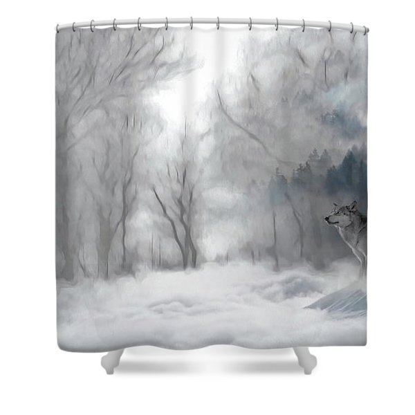 Wolves In The Mist Shower Curtain