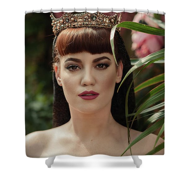 Woman Amongst Leaves Shower Curtain