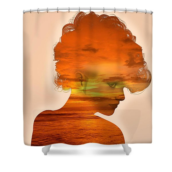 Woman And A Sunset Shower Curtain